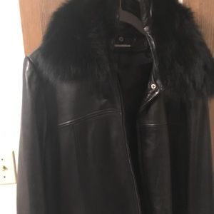 Knoles and carter fur collar leather jacket